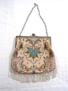 Vintage Purse Glass Micro Bead Victorian Tapestry Antique Purse with the white bead mark.