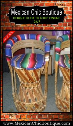 Mexican Decorations | Home Decorating Accessories | Mexican Furniture | Furniture | Home Decor | Mexican Art | Mexican Folk Art | Shop Now ♥ 2 very nice Vintage Equipale Bar Stools Tall Chairs Mexico Mexican Furniture $200.00