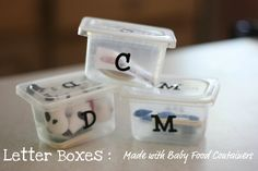 letter boxes made from baby food containers. Use with my letter sound box books by Jane bell moncure has a different book for each letter