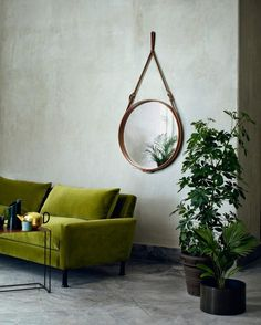 Gubi mirror by Jacques Adnet - was a French architect and Art Deco Modernist designer and an icon of luxurious French Modernism. Hermes designer of leather-covered furniture and interior accessories in the Decor, Green Sofa, Interior Accessories, Colourful Living Room, Living Room Designs, Interior, Home Decor Color, Home Decor, House Interior