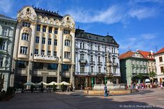 """Photographer's Note  Hlavné námestie (literally """"Main Square"""") is one of the best known squares in Bratislava, Slovakia. It is located in the Old Town and it is often considered to be the center of the city.    The most important landmarks include the Old Town Hall and Roland Fountain."""