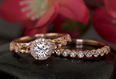 Antique Style Halo Engagement Ring with by DiamondDoveJewelry