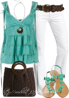 White pants turquoise top brown belt with a cami for modesty (casual country outfits turquoise) Neue Outfits, Chic Outfits, Fashion Outfits, Womens Fashion, Work Outfits, Petite Fashion, Classy Outfits, Curvy Fashion, Fashionista Trends