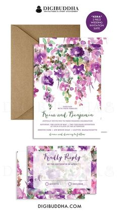 PURPLE FLOWERS WEDDING Invitation & RSvP Whimsical Floral Rustic Invite