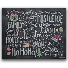 Christmas Chalkboard Print Christmas Words by ChalkBoss