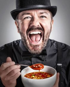 "Ricky Gervais ~ ""Comic Genius"" is a beautiful project by American photographer Matt Hoyle, who has made more than 130 portraits of famous actors & comedians. Matt Hoyle has now consolidated his portraits in a book called ""Comic Genius, portraits of funny people."""