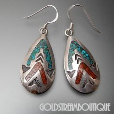 THOMAS SINGER NAVAJO 925 SILVER CRUSHED TURQUOISE & CORAL ARROWHEAD EARRINGS #Unbranded