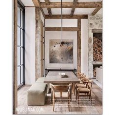 "The Winter edition of Milieu magazine features this stunning mountain home by @billlowegallery aka Betty Burgess. The picture of this dining room highlights a beautiful piece of art by @ednashart . I am a total fan!!! He said, I quote: ""wabi sabi nature and texture of the painting work so well with the vintage lumber and walnut table."" And I totally agree #bettyburgess #milieumag #interiordesign #interiors #mountainhome"
