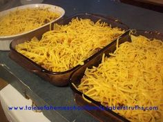 Taco Bake - Layer soft shells, meat, salsa, and cheese. Crumble hard shells and sprinkle them into each layer.