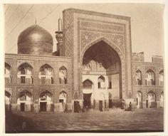 Mashhad, Shirine of Imam Reza, restored 1416, Iran. (Main Gate of Imam Riza, Mashhad, Iran-1850s. Photo possibly by Luigi Pesce-Italian, 1818–1891)