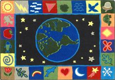 The In the Beginning Faith Based Kids Rug depicts the earth surrounded by the star-filled heavens. This quality carpet will be a c Yellow Rug, Yellow Area Rugs, Beige Area Rugs, Hallway Carpet Runners, Cheap Carpet Runners, Carpet Remnants, Home Depot Carpet, Kid Essentials, Childrens Rugs