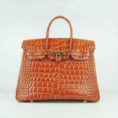 Hermes Birkin Crocodile Dark Orange Gold