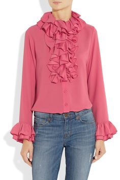 Anna Sui | Ruffled georgette blouse | NET-A-PORTER.COM