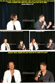 Supernatural, Jensen Ackles and Jared Padalecki. Dallas Con 2014 Salute to Supernatural. Funny supernatural convention