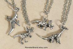 Tiny Silver Dinosaur Necklace, Jurassic Park Jewelry, Brontosaurus, Tyrannosaurus Rex, Pterodactyl, Triceratops Charms