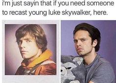 That shooked me a lot  #SebastianStan #Bucky #JamesBarnes #WinterSoldier #LukeSkywalker #MarkHamill #StarWars #Marvel #Avengers