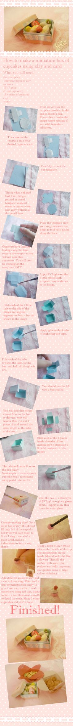 Miniature cupcake and cupcake box TUTORIAL by ~KawaiiPetitPois on deviantART