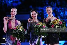 Anna Pogorilaya and Evgenia Medvedeva of Russia and Carolina Kostner of Italy pose in the Ladies medal ceremony during day 3 of the European Figure Skating Championships at Ostravar Arena on January 27, 2017 in Ostrava, Czech Republic.