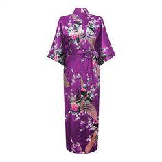 Light Green Female Long Night Robe Women's Kimono Bath Gown Bathrobe Sleepwear Plus Size S M L XL XXL XXXL Mujer Pijama LS0002C