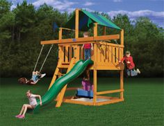 Best Space-Saver Swing Set  - For parents that don't want to sacrifice deck size, and want their children to be able to grow into a set, but do not have alot of space in their yard, this is the set for you.  NJ Swingsets - Playnation Royal Palace Space Saver Swing Set, $2,049.00 (http://njswingsets.com/products/playnation-royal-palace-space-saver-wooden-swing-set)
