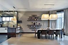 Image result for bookshelves above dining table