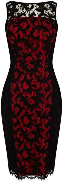 KAREN MILLEN | Black & Red Colourful Lace Collection Dress - $159.00