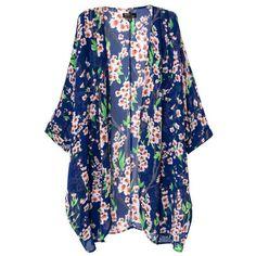 Chicnova Fashion Floral Print Loose Fit Half Sleeves Blue Kimono