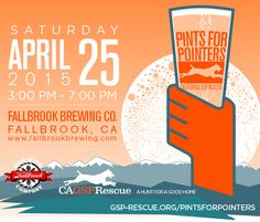 Join California GSP Rescue as Fallbrook Brewery hosts the first Pints for Pointers fundraiser! Gsp Rescue, Pints, Fun Events, Fundraising, Beans, How To Plan, Pint Glass, Beans Recipes, Fundraisers