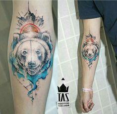 By Rodrigo Tas | Brazil | #Tattoo #Bear #Dotwork #Surrealism