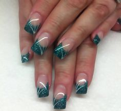 Green Metallic Tip with white lines.  Nails To Die For