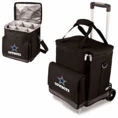 Dallas Cowboys Cooler/ 6 Bottle Wine Carrier - CELLAR W/TROLLEY. SHORT DESCRIPTION:The Cellar with Trolley from Picnic Time is so versatile, you will wonder how you ever managed without one! Designed as an insulated 6-bottle wine carrier, the Cellar with Trolley comes equipped with padded, removable interior dividers and a removable water-resistant interior lining both of which allow you to convert the Cellar with Trolley into a handy rolling cooler to tote your food and beverages. The…