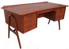 Danish Mid Century Teak Desk Svend Madsen Made in Denmark | eBay