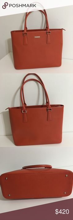 Burberry leather tote Authentic large Burberry Tote. Orange/reddish brown leather with silver hardware. Perfect everyday bag that fits a tablet or a laptop. Small scratches on corners and tiny marks on one side (as shown on pictures). Classic Burberry Novacheck lining inside with side pockets. Still plastic on the logo inside. Like new inside. Handles and the bottom in great condition. Zipper on top, works great, and two full size pockets on the outside. This is a large tote. Dimensions are…