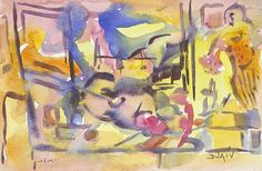 Abstract watercolor artwork by artist Duaiv - Park West Gallery