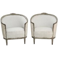 19th Century Pair of Swedish Gustavian Style Barrel Back Bergere Chairs | From a unique collection of antique and modern club chairs at https://www.1stdibs.com/furniture/seating/club-chairs/