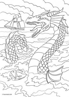 Sea Monster printable adult coloring page