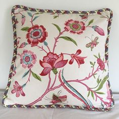 This beautiful pillow cover really stands out against blue and white. Perfect way to add air of spring to your home.