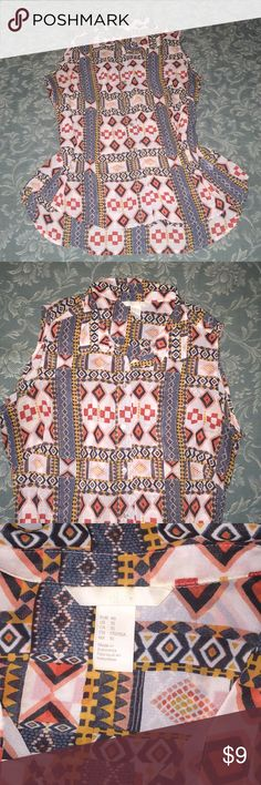 H&M Tribal Aztec Shirt  Pretty button down sleeveless shirt in nice print. In like-new condition. H&M Tops Button Down Shirts