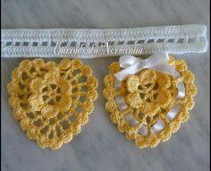 OFICINA DO BARRADO: Croche - Preparando Novos Barrados . . . em Corações Amarelos