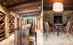 antique but contemporary style wine cellar