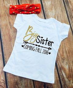 DISCOUNT Code: ANNABELLE15 on all Vazzie Tees purchases <3 Big Sister Shirt - PERSONALIZED with Month and YEAR - Shirt and Knot Gold Foil Headband - New Big Sister - Announcement - Big Sister to Be by VazzieTees on Etsy https://www.etsy.com/listing/281366212/big-sister-shirt-personalized-with-month