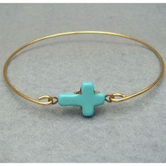 Items similar to Classic Turquoise Cross Brass Bangle Bracelet on Etsy Dainty Jewelry, Cute Jewelry, Jewelry Crafts, Vintage Jewelry, Handmade Jewelry, Unique Jewelry, Jewelry Rings, Accessories Jewellery, Jewelry Logo
