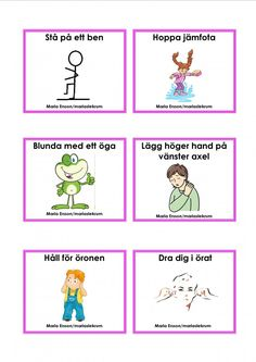 Mariaslekrum Educational Activities For Kids, Indoor Activities, Preschool Worksheets, Preschool Crafts, Learn Swedish, Swedish Language, Movement Activities, Brain Gym, Montessori Baby
