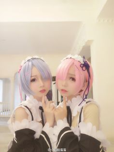 re:zero (ram & rem) cosplay. All Anime Characters, Picture Mix, Asian Cosplay, Kawaii Cosplay, Hair Reference, Re Zero, Kawaii Girl, Anime Manga, Cosplay Costumes