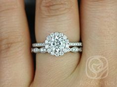 Marisol 6mm & Christie 14kt White Gold Round Halo FB Moissanite and Diamonds Wedding Set (Other metals and stone options available)