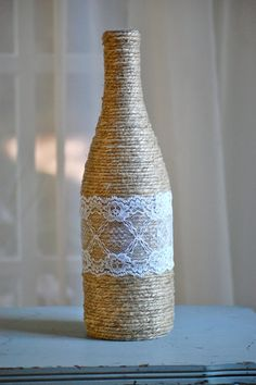 Thick twine wrapped bottle with lace, rustic home decor, rustic wedding decor, shabby chic wedding vase, cottage vase