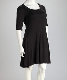 Take a look at this Black Plus-Size Three-Quarter Sleeve Dress by 24/7 on #zulily today!