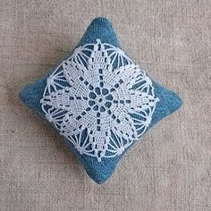 Crochet lace pincushion Sewing pin cushions Denim pincushions Needle bed Crocheted detail pillow Needles pin keeper Crochet motif Style gift by MyWealth on Etsy
