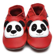 Red Baby Shoes with Panda Motif by Inch Blue £15