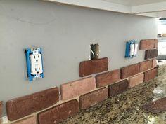 Awesome Brick Veneer Backsplash Do It Yourself Remington Avenue Home Depot Photo Canada Installation Picture Diy Faux Brick Backsplash, Faux Brick Walls, Brick Tiles, Kitchen Backsplash, Kitchen Countertops, Kitchen Cabinets, Kitchen Redo, Kitchen Design, Kitchen Makeovers